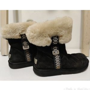 UGG Suede Metro Tas Short Fur Cuff Snow Booties 7
